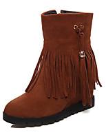 preiswerte -Damen Schuhe Kunstleder Winter Schneestiefel Stiefel Runde Zehe Mittelhohe Stiefel Für Normal Kleid Schwarz Beige Braun Rot