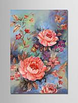 Ручная роспись Цветочные мотивы/ботанический Вертикальная,Modern 1 панель Холст Hang-роспись маслом For Украшение дома