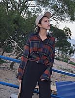 abordables -Mujer Chic de Calle Casual/Diario Camisa,Cuello Camisero Bloques Manga Larga Algodón