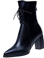 cheap -Women's Shoes PU Winter Comfort Fashion Boots Boots Pointed Toe Mid-Calf Boots For Casual Office & Career Green Black