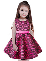 Girl's Birthday Christmas Solid Dress,Polyester Sleeveless