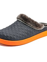 Men's Shoes PU Fall Winter Fluff Lining Comfort Slippers & Flip-Flops For Casual Brown Gray Orange Black
