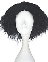 cheap -Men Adult Short Kinky Curly Hair Unisex Black Color Wig Movie Role Play Hair Cosplay Wigs Halloween