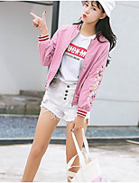 economico -Giacca di jeans Da donna Casual Vintage Autunno,Tinta unita Rotonda Cotone Acrilico Standard Pizzo