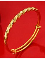 Femme Bracelets Rigides Manchettes Bracelets Asiatique Cadeau Adorable Mode Plaqué or Twist Circle Bijoux Pour Mariage Quotidien