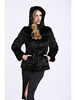 BF-Fur Style Women's Casual/Daily Sophisticated Fall Winter Fur Coat,Solid Hooded Long Sleeves Regular Rabbit Fur Polyester