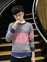 Men's Going out Long Pullover,Print Round Neck Long Sleeves Polyester Spring Fall/Autumn Thick Micro-elastic