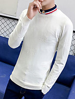 Men's Daily Going out Long Pullover,Solid Round Neck Long Sleeves Polyester Winter Fall/Autumn Thick Micro-elastic