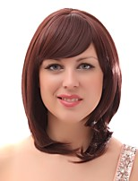 Women Synthetic Wig Capless Medium Length Brown Natural Wigs Costume Wig