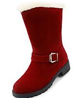 preiswerte -Damen Schuhe PU Winter Komfort Schneestiefel Pelzfutter Stiefel Runde Zehe Mittelhohe Stiefel Für Kleid Schwarz Rot Kamel