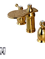 cheap -Contemporary Deck Mounted Waterfall Ceramic Valve Two Handles Three Holes Rose Gold , Bathroom Sink Faucet