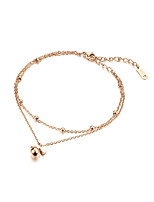 Women's Anklet/Bracelet Titanium Steel Rose Gold Plated Cute Style Elegant Heart Jewelry For Wedding Evening Party