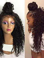 economico -Donna Parrucche di capelli umani con retina Brasiliano Cappelli veri Lace frontale 130% Densità Con ciuffetti Riccio Parrucca Nero jet