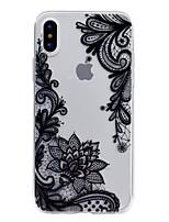 Недорогие -Кейс для Назначение Apple iPhone X / iPhone 8 Прозрачный / Рельефный / С узором Кейс на заднюю панель Кружева Печать Мягкий ТПУ для iPhone X / iPhone 8 Pluss / iPhone 8