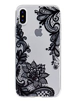 baratos -Capinha Para Apple iPhone X / iPhone 8 Transparente / Com Relevo / Estampada Capa traseira Lace Impressão Macia TPU para iPhone X / iPhone 8 Plus / iPhone 8
