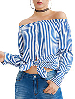 cheap -Women's Holiday Club Sexy Street chic Spring/Fall Shirt,Striped Boat Neck Long Sleeves Polyester Medium
