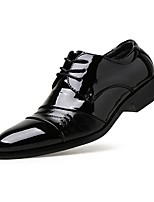 Men's Shoes Leather Spring Fall Comfort Oxfords Lace-up For Casual Black