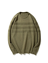 Men's Casual/Daily Regular Pullover,Solid Round Neck Long Sleeves Others Autumn Medium strenchy