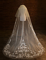 cheap -Two-tier Lace Applique Edge Lace Bridal Double-layer Wedding Wedding Veil Blusher Veils Cathedral Veils 53 Laces Applique Paillette Tulle