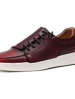 cheap -Men's Shoes Cowhide Spring Fall Comfort Sneakers For Casual Burgundy Brown Gray