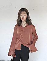 cheap -Women's Daily Street chic Shirt,Solid Shirt Collar Long Sleeves Polyester