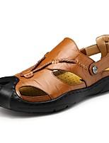 Для мужчин обувь Дерматин Весна Лето Удобная обувь Сандалии Назначение Повседневные Черный Коричневый Хаки