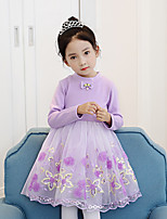 cheap -Girl's Holiday Color Block Dress,Cotton Rayon Winter Fall Long Sleeves Active Princess Blushing Pink Purple