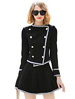 Women's Daily Going out Casual Street chic Sophisticated Set Skirt Suits,Solid Color Block Long Sleeves Polyester