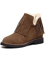 cheap -Women's Shoes Leatherette Winter Fall Fashion Boots Boots Low Heel Round Toe Booties/Ankle Boots For Casual Party & Evening Khaki Brown
