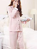Nuisette & Culottes Pyjamas Femme,Imprimé Solide Polyester Bleu Rose Claire