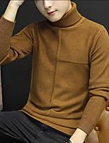 Standard Pullover Da uomo-Altro Semplice Tinta unita A collo alto Manica lunga Poliestere Autunno Medio spessore Media elasticità