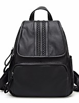 Women Bags All Seasons Cowhide Backpack Pockets Zipper for Casual Black