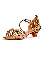 cheap -Women's Latin Satin Heel Indoor Customized Heel Leopard 1 - 1 3/4 2 - 2 3/4 Customizable