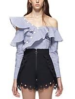 Tee-Shirt Pantalon Costumes Femme,Rayé Soirée Sexy Printemps/Automne Manches longues Epaules Dénudées A Volants Polyester Micro-élastique