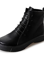 preiswerte -Damen Schuhe Vlies PU Herbst Winter Springerstiefel Flaum Futter Stiefel Runde Zehe Booties / Stiefeletten Für Normal Schwarz Khaki