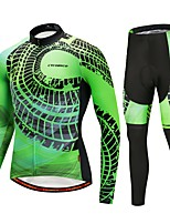 Cycling Jersey with Tights Unisex Long Sleeve Bike Clothing Suits Winter Sports Polyester Spandex Winter Cycling/Bike Dark Green