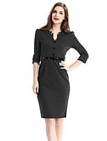 Women's Daily Plus Size Street chic Sheath Dress,Solid V Neck Knee-length Half Sleeves Cotton Polyester Elastane Spring/Fall Medium Waist