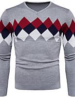 Men's Casual/Daily Simple Regular Pullover,Color Block Plaid V Neck Long Sleeves Cotton Spandex Fall Winter Medium Micro-elastic