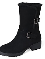 cheap -Women's Shoes Leatherette Winter Comfort Boots Round Toe Booties/Ankle Boots Buckle For Party & Evening Dress Brown Beige Black