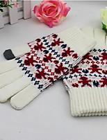 Недорогие -Унисекс Для офиса На каждый день До запястья С пальцами,Зима Вязаная одежда Вышивка Белый
