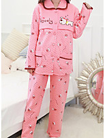 Costumes Pyjamas Femme,Fleurs Coton Polyester Rose Claire Fuchsia