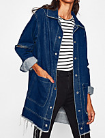 cheap -Women's Daily Simple Casual Winter Fall Denim Jacket,Solid V Neck Long Sleeve Long Cotton Acrylic Oversized