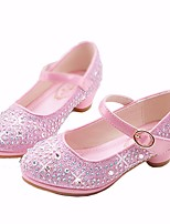 cheap -Girls' Shoes Microfibre Spring Fall Flower Girl Shoes Tiny Heels for Teens Heels For Casual Pink Silver Gold