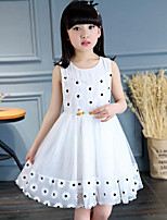 Girl's Birthday Daily Polka Dot Floral Patchwork Dress,Cotton Polyester Sleeveless Street chic Princess White Blushing Pink Gray Yellow