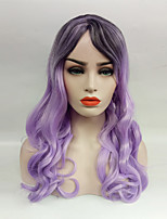 Women Synthetic Wig Long Ombre Purple Wavy Hair With Side Bangs For Women
