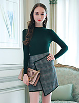 Women's Daily Casual Sophisticated Winter Fall Sweater Skirt Suits,Color Block Round Neck Long Sleeves Polyester