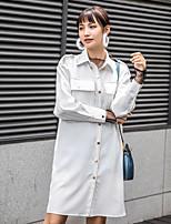 cheap -Women's Daily Chinoiserie Winter Autumn/Fall Shirt,Solid Shirt Collar Long Sleeves Others Medium