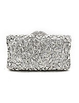 Women Bags Metal Evening Bag Crystal Detailing Flower(s) for Wedding Event/Party All Season Silver