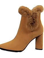 cheap -Women's Shoes Leatherette Fall Winter Comfort Boots For Casual Camel Black
