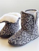 Для женщин Обувь Полиамидная ткань Хлопок Осень Зима Удобная обувь Флисовая подкладка Тапочки и Шлепанцы Сапоги до середины икры